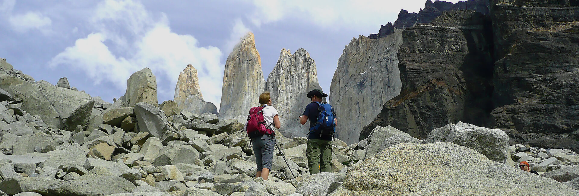 Hikers at the Viewpoint Torres del Paine Towers