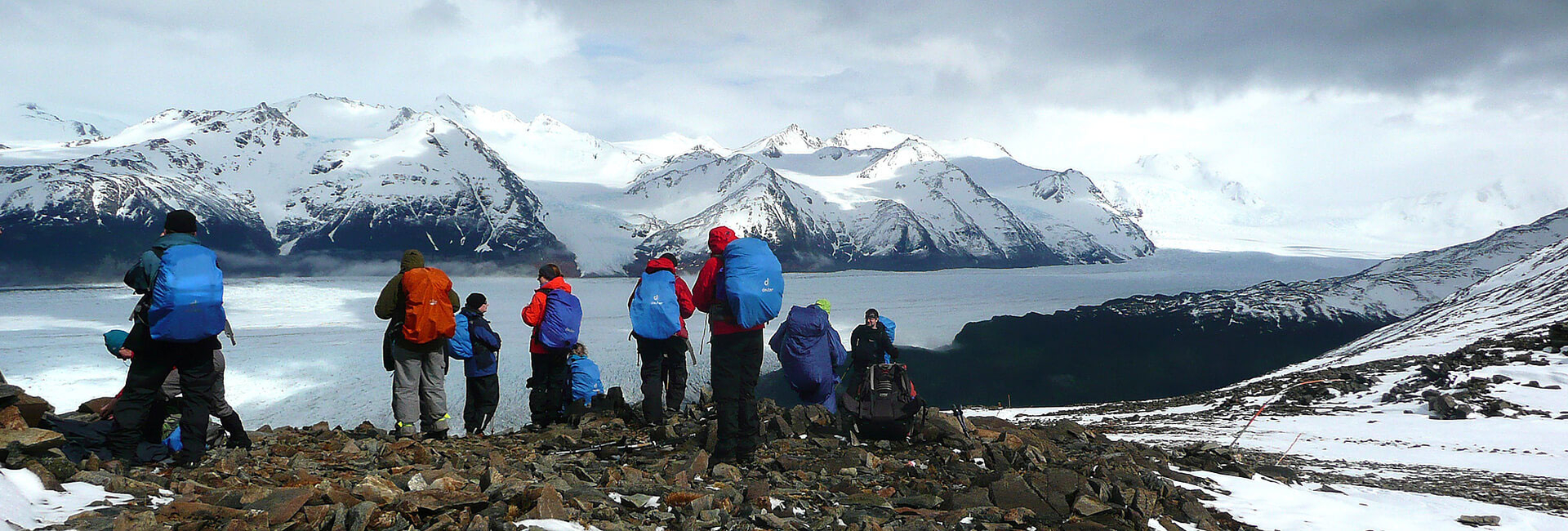 Trekking group, view to the Grey Glacier from John Gardner Pass