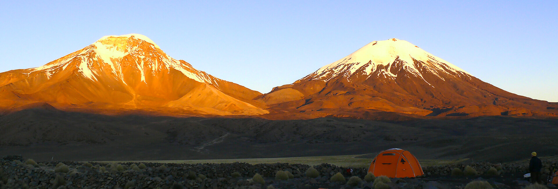 Volcanoes Parinacota and Pomerape in the Chilean Andes, Altiplano