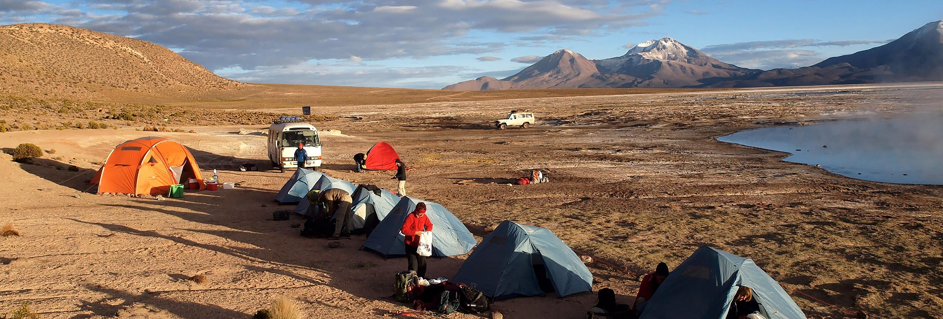 Camp at Salar de Surire, Chilean Andes, Altiplano